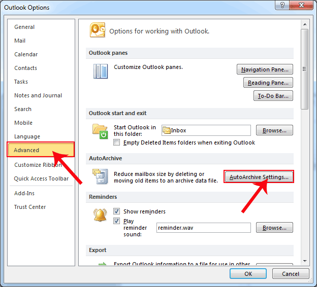 how to set up auto archive outlook 2010
