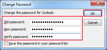 how to change your password outlook