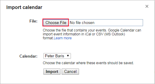 click on choose file