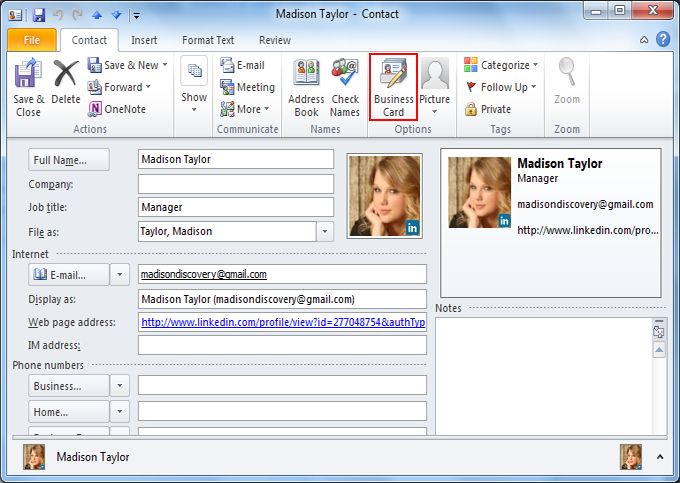 Learn to create business card in microsoft outlook click on business card colourmoves