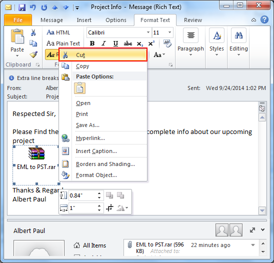 pdf attachment not opening in outlook 2010