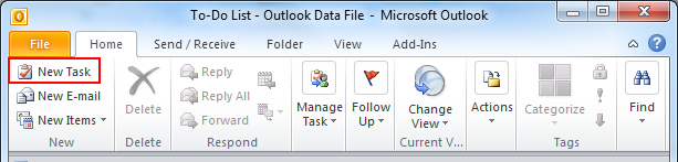 Create Task And To Do List In Microsoft Outlook 2007 And 2010