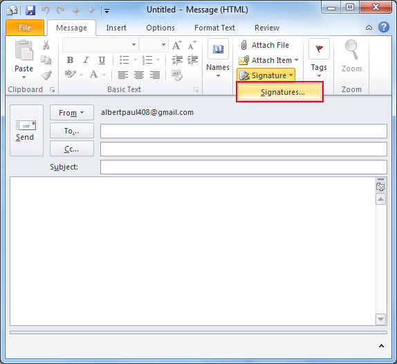 Create and Add Signature to Outlook Email Message