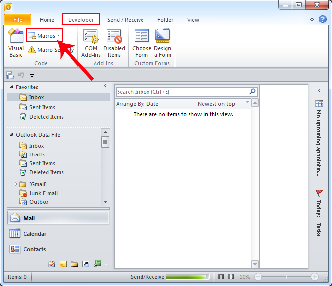 how to add outlook file templates to the 2010 ribbon