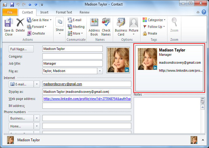 Learn to create business card in microsoft outlook see business card reheart Choice Image