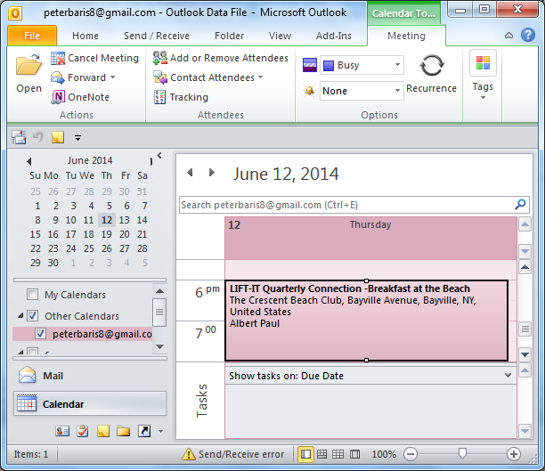 see imported calendar in Outlook