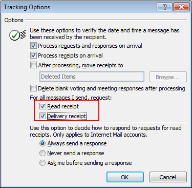 Enable Email Read Receipt in Outlook 2019/2016
