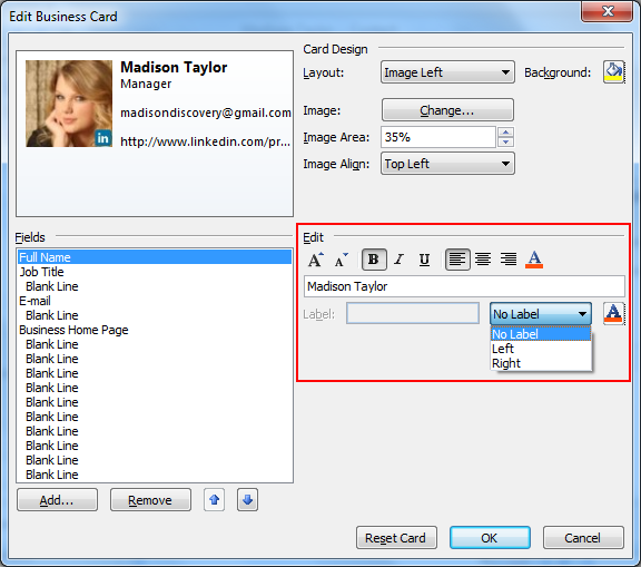 Learn to create business card in microsoft outlook select business card edit filed colourmoves