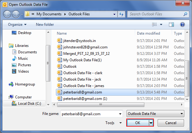 outlook how to add data file