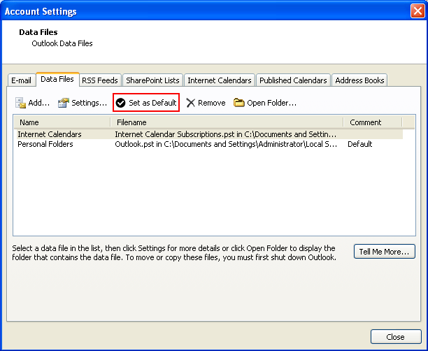 how to change the default data files in outlook 2003