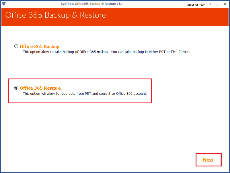select offive 365 restore option